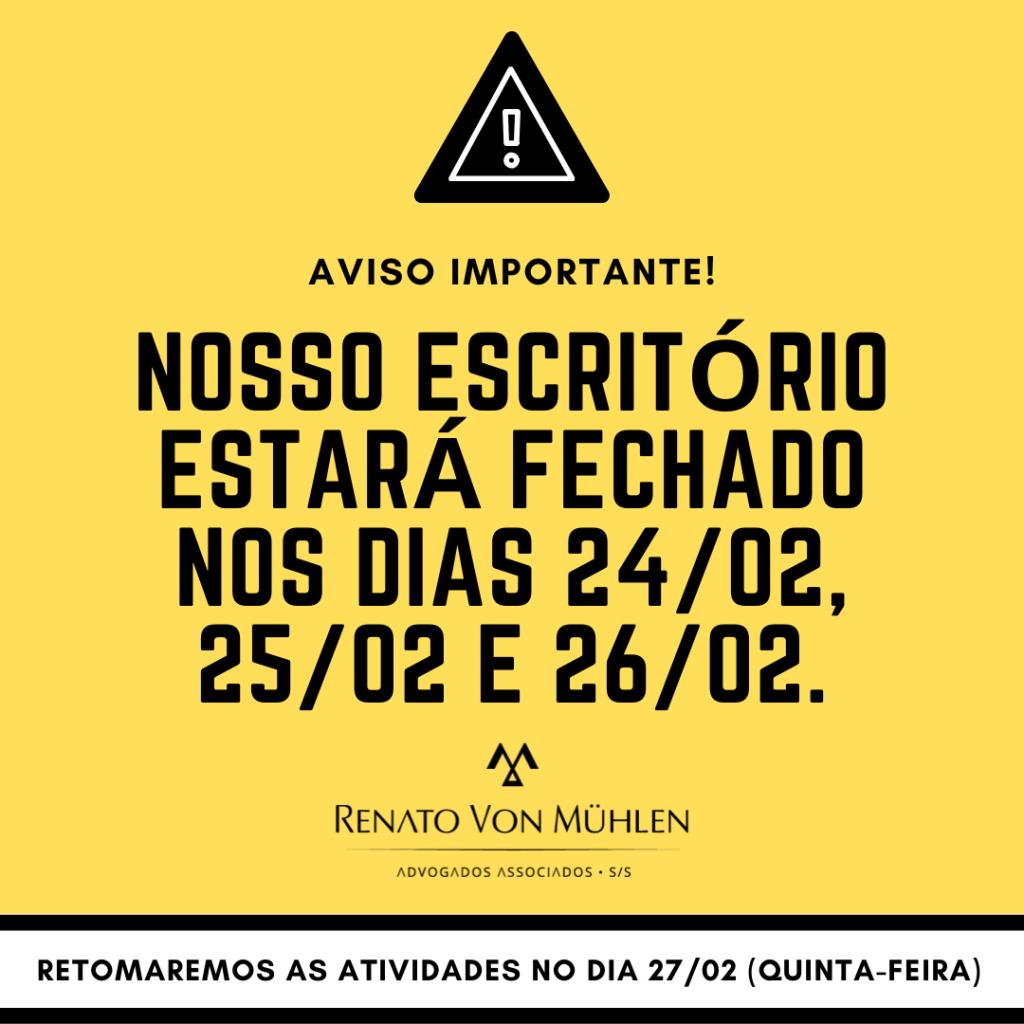 BREVE RECESSO DO ESCRITÓRIO!