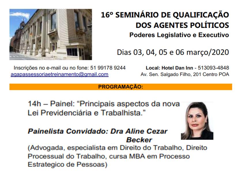 DRª ALINE BECKER PARTICIPA COMO PALESTRANTE EM IMPORTANTE EVENTO JURÍDICO NO CENÁRIO GAÚCHO